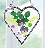 Grandma Heart Shaped Suncatcher with Real Pressed Flowers in Glass and Silver Metal Hanging Charm - Grandmother Gifts - Gifts for Grandma