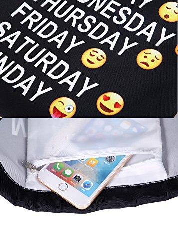 Artone Universo Lona Con Cordón Bolso Viajar Daypack Deportes Portátil Mochila Azul Black Daily Emoji