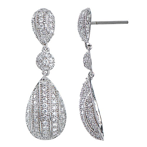 Moa's Pave CZ Pear Shaped Dangle Earrings