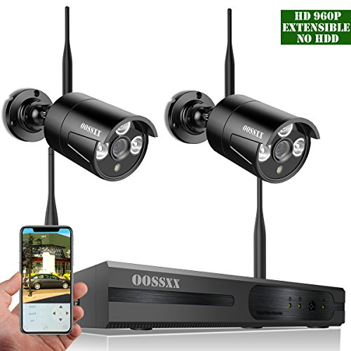 【2018 update】OOSSXX 4-Channel HD 960P Wireless Network/IP Security Camera System(IP Wireless WIFI NVR Kits),2Pcs 960P 1.3 Megapixel Wireless Indoor/Outdoor IR Bullet IP Cameras,P2P,App,No HDD by OOSSXX