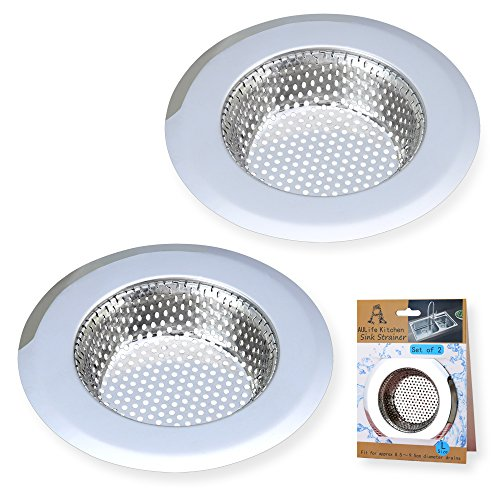A AULIFE Stainless Steel Kitchen Sink Strainer, Large Wide Rim 4.5