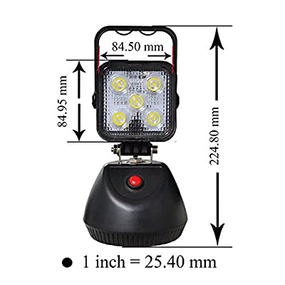 PA 1x 15W 1800lm Rechargeable LED Flood Industrial Spot Light for Outdoor Lighting SUV Off-Road Trucks Boats Jeep Tractor Garage, Camping Light