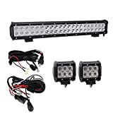 package lights - [Hook All 3 Lights] Bangbangche 20'' 126W Combo CREE Led Light Bar, 2X 4'' 18W Flood Cree Pods Lights with 2X 10FT Wring Harness for Jeep Boat Tractor Trailer Off road Truck