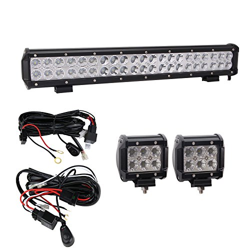 [Hook All 3 Lights] Bangbangche 20'' 126W Combo CREE Led Light Bar, 2X 4'' 18W Flood Cree Pods Lights with 2X 10FT Wring Harness for Jeep Boat Tractor Trailer Off road Truck (Tractor Light Bar)