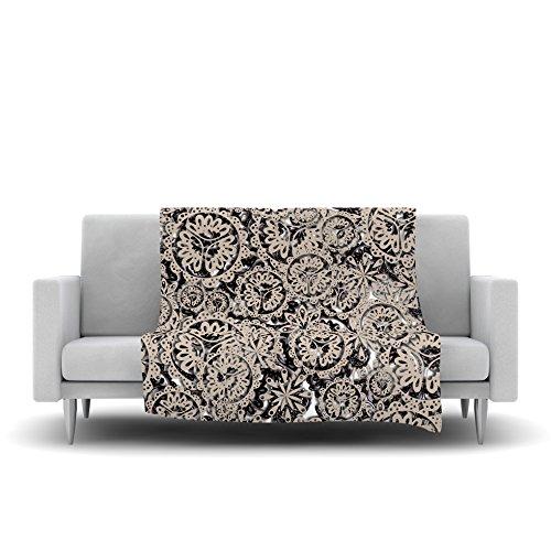 40 x 30 Kess InHouse Akwaflorell Snowflakes Brown Geometric Fleece Throw Blanket