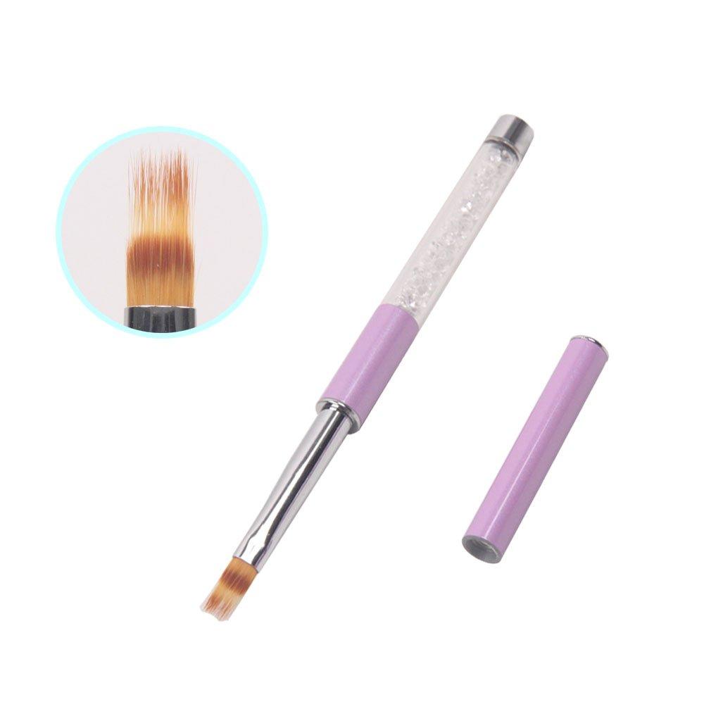 1 Unid UV Gel Cepillo de Uñas Con Mango de diamantes de Imitación de Pelo de Nylon Cepillo Ombre Pro Nail Art Tools 4 # JMOFO