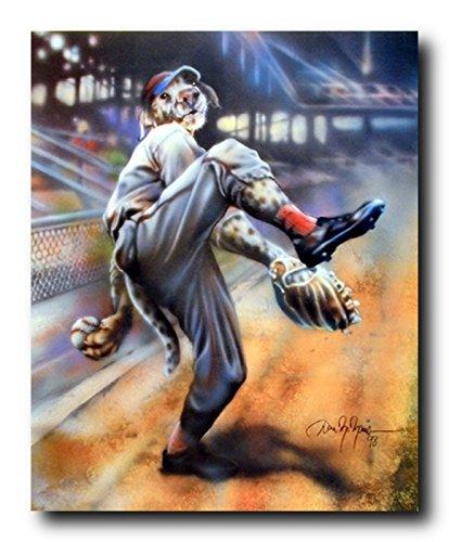 Playing Baseball Sports Funny Dog Wall Decor for Guys Art Print Poster