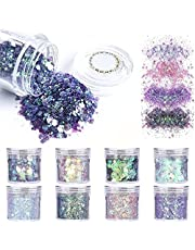 SAIFTRAD Nail Glitter - 8 Jars Holographic Iridescent Mermaid Hexagon Shiny Chunky Flakes Sequins Paillette for Body, Face, Eyes, Hair, Nail Art & DIY