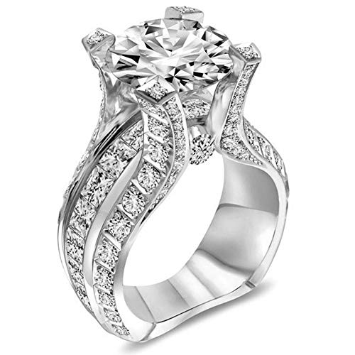 Desirepath 925 Sterling Silver Ring, Cubic Zirconia CZ Diamond Elegant Eternity Engagement Wedding Band Ring