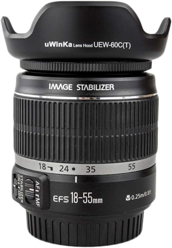 Lens Hood Shade for Canon EF 28-80mm f//3.5-5.6 II EF 28-90mm f//4-5.6 III EF-S 18-55mm f//3.5-5.6 EF-S 18-55mm f//3.5-5.6 is II EF-S 18-55mm f//3.5-5.6 USM Replaces Canon EW-60C T JJC LH-60C