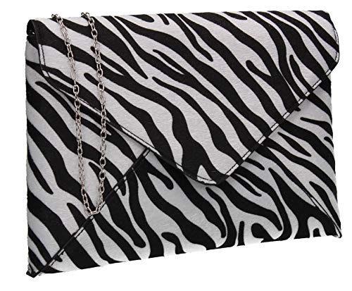 (SWANKYSWANS Sasha Faux Suede Zebra Print Envelope Clutch Bag Black and White)