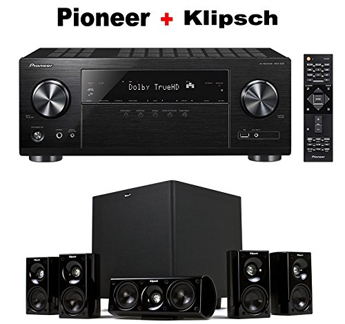 Pioneer Dolby Atmos-Ready Audio & Video Component Receiver Black (VSX-832) + Klipsch HDT-600 Home Theater System Bundle
