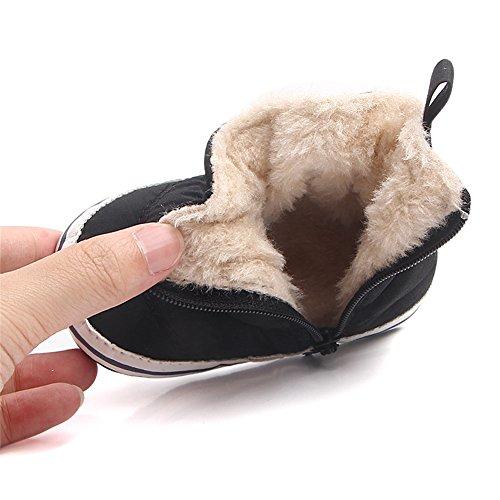 TININNA Baby Weiche Sohle Schneeschuhe Winter Warme Rutschfeste Plüsch Prewalker Krippe Schuhe Schwarz