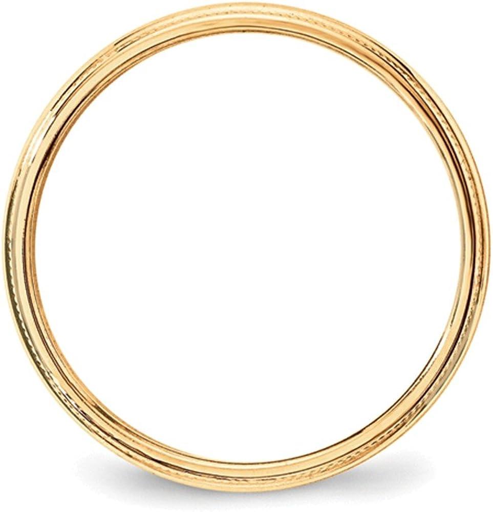 Jewelry Adviser Rings 10KY 3mm Milgrain Half Round Band Size 13