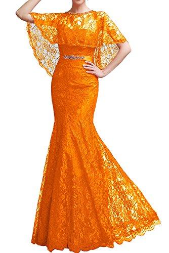 Ballkleider Meerjungfrau Partykleider Damen Festlichkleider Charmant Abendkleider Orange Rot Kleider Jugendweihe Spitze q1PwptX