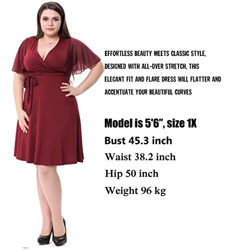 Sapphyra Women's Gorgeous V Neck Crochet Lace Short Sleeves Ruched Midi Dress,Red,4X Plus