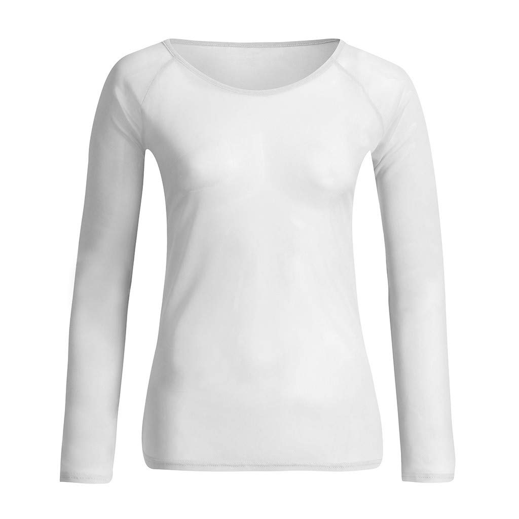 Women Shirt Blouse,Ladies See-Through Long Sleeve Pullovers Seamless Arm Shaper Mesh Top Tunics by MEEYA