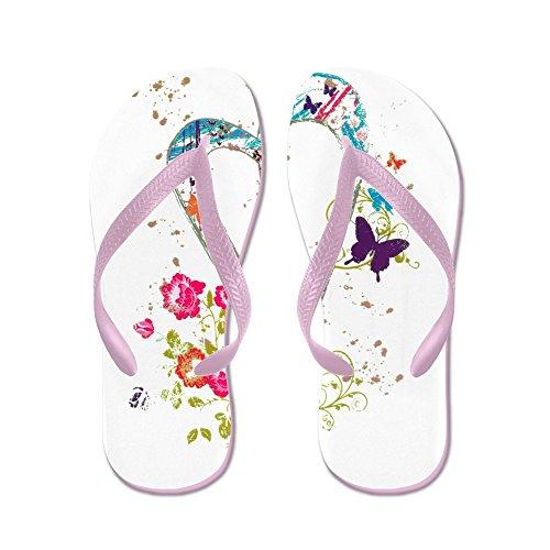 Royal Lion Kid's Flowered Butterfly Heart Peace Symbol Pink Rubber Flip Flops Sandals 9-11