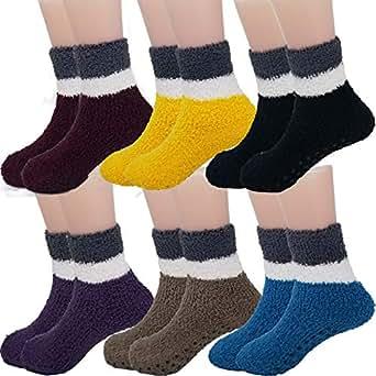 DEBRA WEITZNER Fuzzy Socks For Kids Toddlers Non Skid Slipper Socks With Grips 2tone Dark 12-24 months 6 Pairs