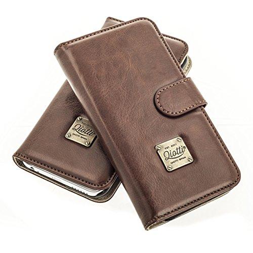QIOTTI >          SAMSUNG GALAXY S8 PLUS          < incl. PANZERGLAS H9 HD+ Booklet Wallet Case Hülle Premium Tasche aus echtem Kalbsleder mit KARTENFÄCHER. CLASSIC KOLLEKTION in BRAUN