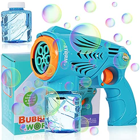 Voastvy 1 Bubble Guns with 2 Bottles Bubble Refill Solution for Kids,Automatic Bubble Maker Party Toys,Summer Rich Colorful Bubbles Parties Outdoors Activity, Easter, Birthday Gift