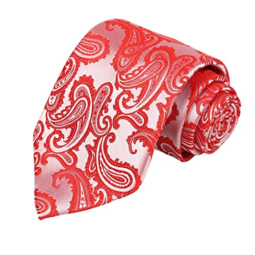 KissTies Mens Coral Reef Tie Red Paisley Necktie + Gift Box ()