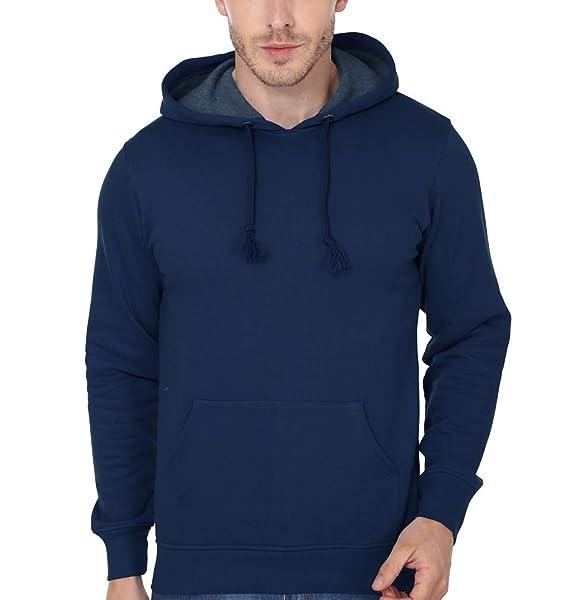 fcf1b641657b Ektarfa Men s Cotton Plain Hoodie (Navy Blue)  Amazon.in  Clothing ...