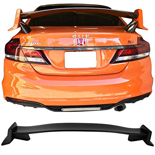 Trunk Spoiler Fits 2012-2015 Honda Civic 4Dr Sedan | TR Unpainted ABS Rear Spoiler Wing Lid by IKON MOTORSPORTS | 2013 2014 ()