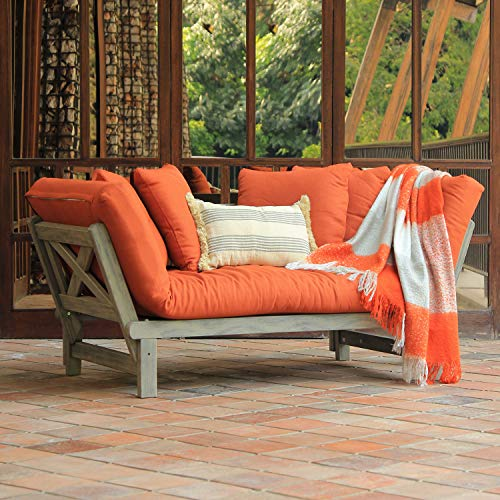 Cambridge-Casual Solid Wood West Lake Outdoor Convertible Sofa Daybed, with Brick Red Cushion