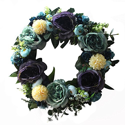 Retro wreath Handmade Home Wall Decor Vintage Style Artificial Large Blooming (Halloween Wreath Ideas)