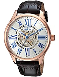 Invicta Mens Vintage Automatic Stainless Steel and Leather Casual Watch, Color:Black (Model: 23636)