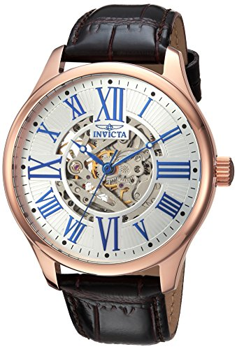 Invicta Men's Vintage Stainless Steel Automatic-self-Wind Watch with Leather Calfskin Strap, Black, 22 (Model: 23636)