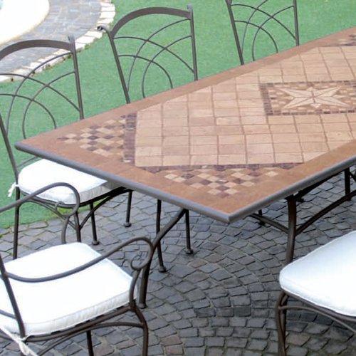 Tavoli Mosaico Da Giardino.Tavolo In Ferro Battuto Da Giardino Mosaico In Pietra 160 X 90