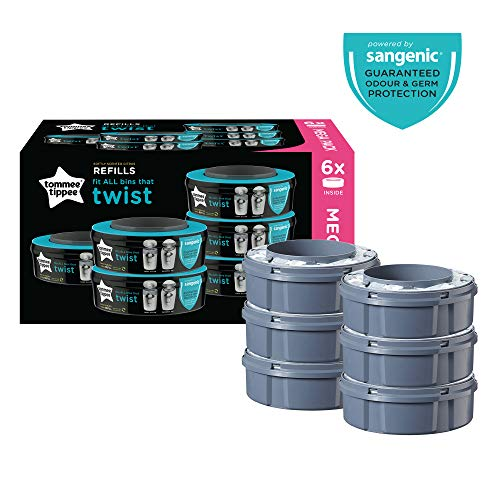 Tommee Tippee Twist and Click Advanced Nappy Disposal Sangenic Refills, Pack of 6