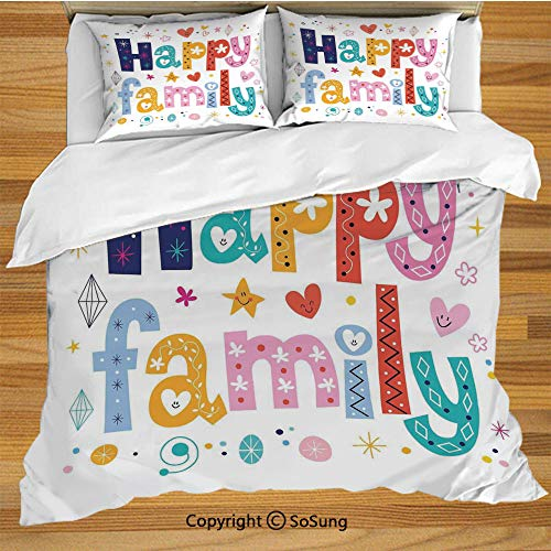 SoSung Family Queen Size Bedding Duvet Cover Set,Happy Family Letters with Flowers Hearts Stars Dots Circles Cartoon Like Artwork Decorative 3 Piece Bedding Set with 2 Pillow - Girl Heart Circle Flower