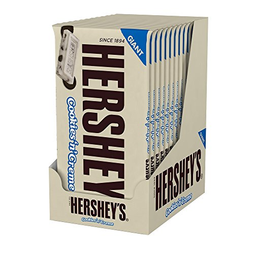 HERSHEY'S Cookies 'N' Crème Giant Bar, (6.5-Ounce Bar, Pack of 12)