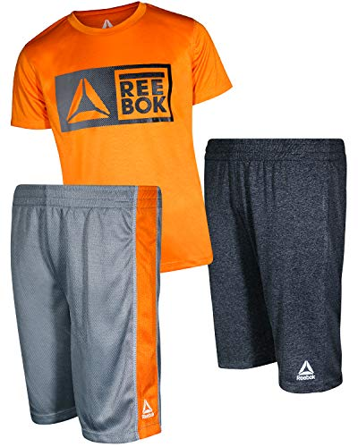 Reebok Boys\' 3 Piece Performance Sports T-Shirt and Short Set, Vibrant Orange, Size 5'