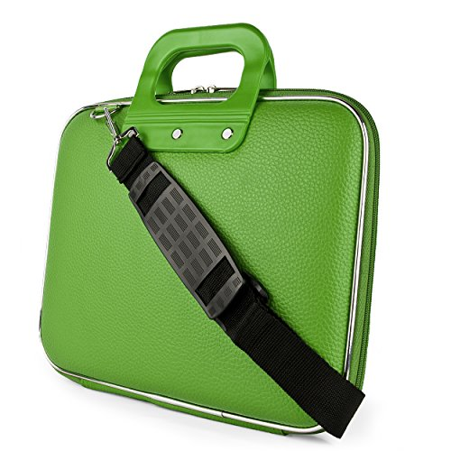 Sumaclife PU Leather Zipper Laptop Briefcase Shoulder Bag Satchel (Green) for Dragon Touch Kid Tablet 9.7