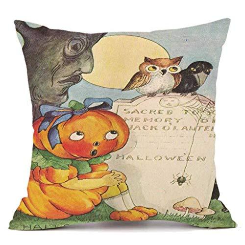 YOcheerful Happy Halloween Throw Pillow Sofa Cushion Cover Home Decor (E,45cm45cm)