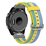 Yooside 22mm Replacement Watch Band Belt Nylon Belt Quick Release easy fit Connector for Garmin Fenix 5/Forerunner 935/Approach S60 (Yellow)
