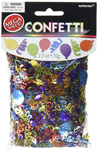 Colorful Party Balloon Multi Embossed Confetti Decoration Mix, Foil, 2 1/2 oz..