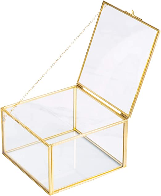 Levilan Caja Decorativa de latón y Cristal Transparente con Tapa ...
