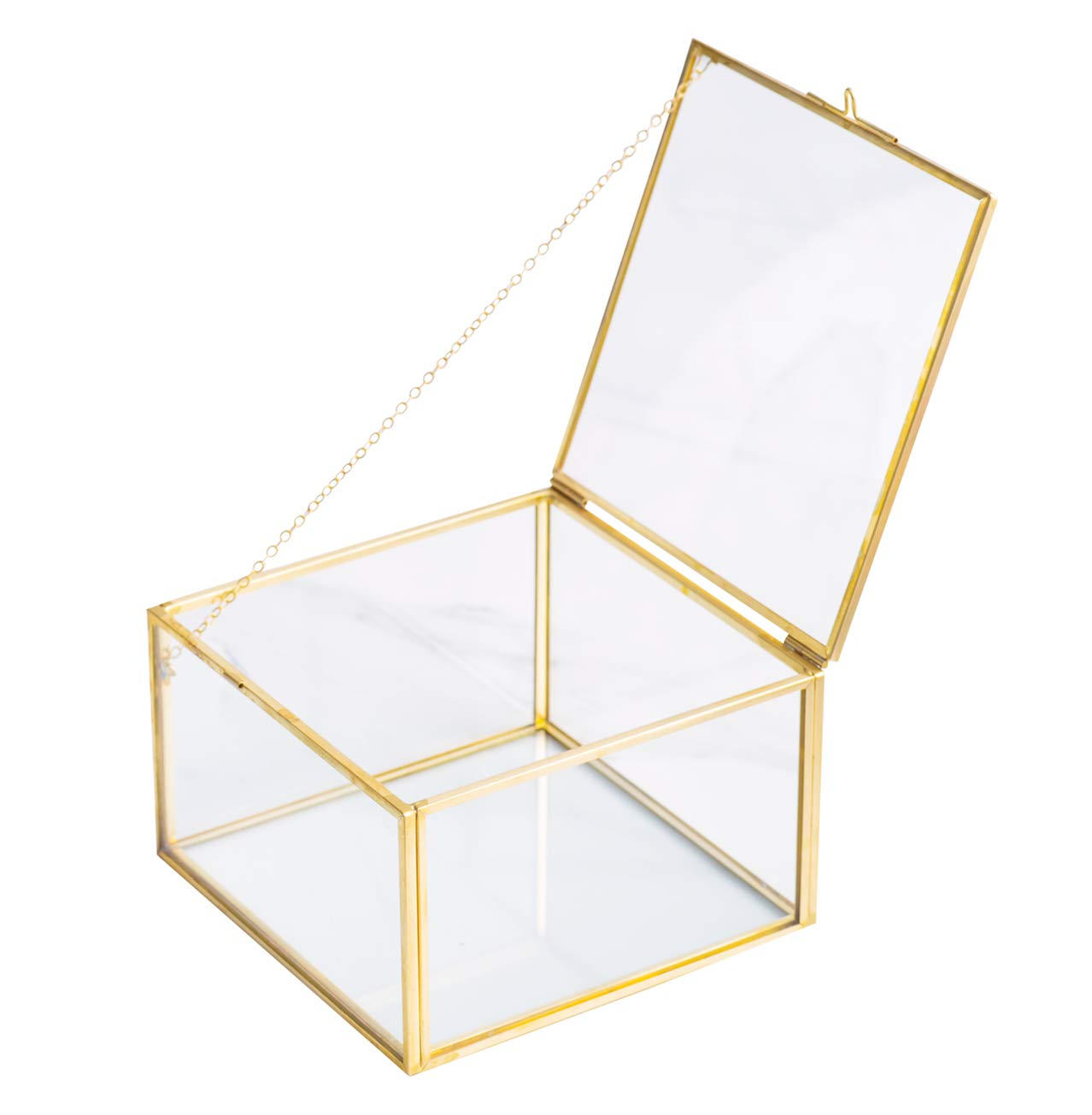 Jewelry Case Box Organizer with Latching Lid Golden Square Vintage Brass /& Clear Glass Decorative Box Home Decor