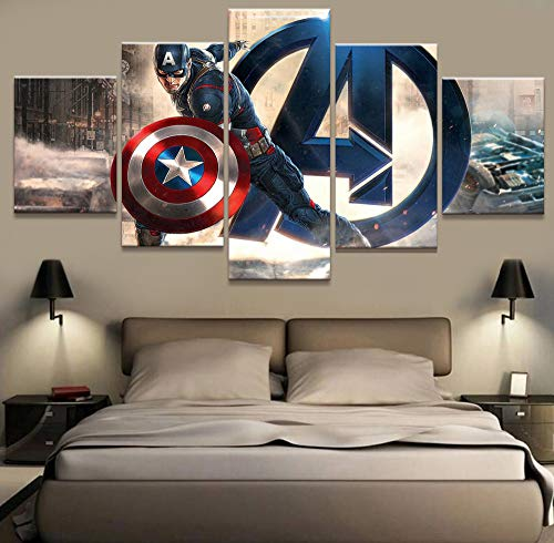 (OnlineShoppingExpress [Small] Premium Quality Canvas Printed Wall Art Poster 5 Pieces / 5 Pannel Wall Decor Captain America Painting, Home Decor Pictures - Framed)