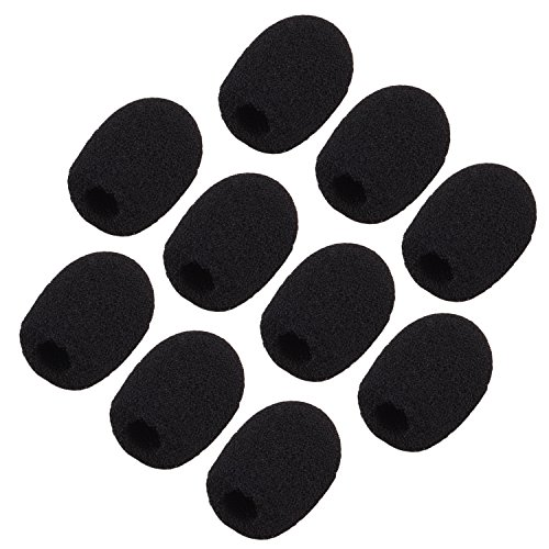Sunmns ch05-cover Mini Lapel Headset Microphone Windscreen Foam Cover, Black, 10 Piece