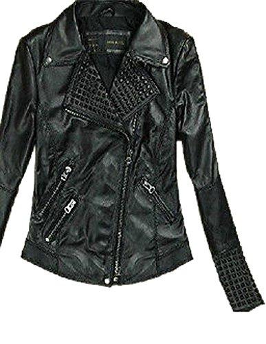 Womens Rivets Biker Punk Moto Pu Leather Coat Jacket Trench Outwear Parkas