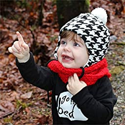 Warm Cute Baby Fall Winter Earflap Beanie Hat (S: 3-9 Months, Houndstooth)