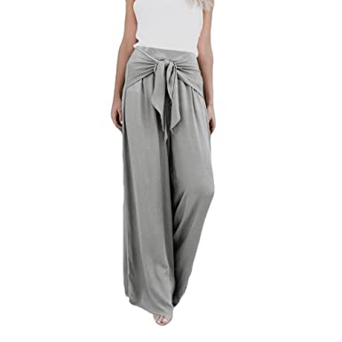 2b3d14a38b23 Goosuny Flare Hosen Läng Breites Bein Palazzo Hose mit Gürtel Mode Elegant Lose  Hohe Casual Taille