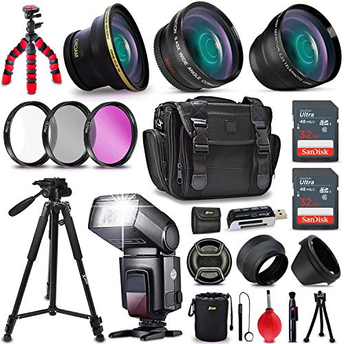 Ultimate 37 Piece Accessory Kit for Nikon D5500, D5300, D5200, D5100, D750, D7200, D7100, D7000, D810, D800, D610, D600, D3300, D3200, D3100, 1 V1, D4, D4S, D3, D3X, D3S DSLR Cameras Includes: 58mm Super High Definition FishEye Lens + 58mm High Definition 2X Telephoto Lens + 58mm High Definition Wide Angle Lens + Adapter Rings Ranging 46-58mm (fits all 52mm Lenses) + Pro Speedlight Flash + 32GB High Speed Memory Card + 16GB High Speed Memory Card + Professional Full Size 72
