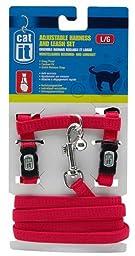 Catit Nylon Adjustable Cat Harness and Leash Set, Large, Red